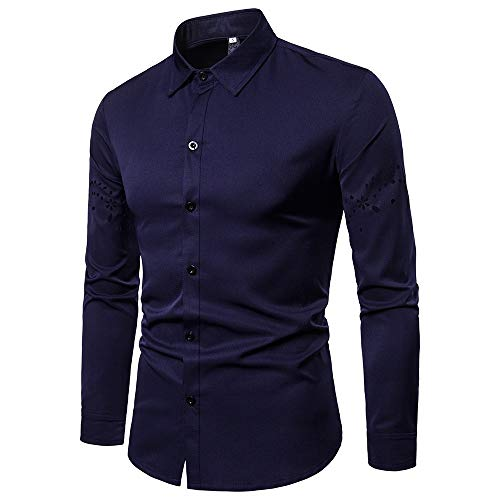 iLXHD Men's Autumn Casual Hollow Long Sleeve Dress Shirts Top -