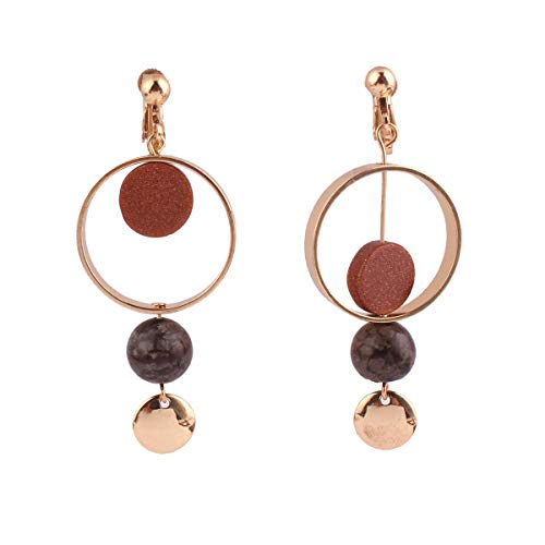 (GRACE JUN Copper Material Geometric Natrual Stone Clip on Earrings No Pierced for Women Charm Earrings (703 Gold))