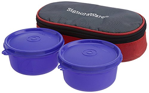 Signoraware Mid-Day Lunch Box with Bag, Deep Violet