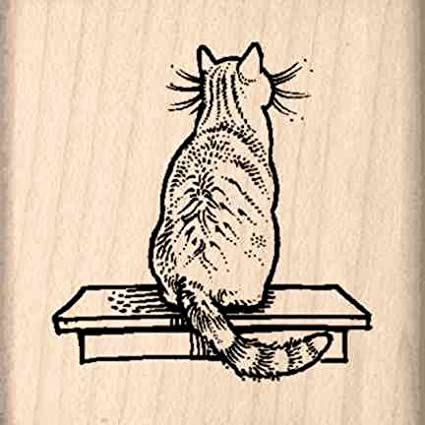 Cat Rubber Stamp - 1-1/2 inches x 1-1/2 inches Stamps by Impression ST 0657a