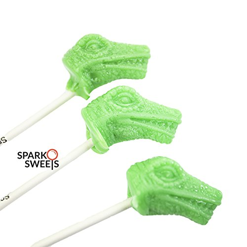 Dinosaur T-Rex Heads Lollipops Green Apple Flavor, Handcrafted in USA, 6 - In Handcrafted Usa