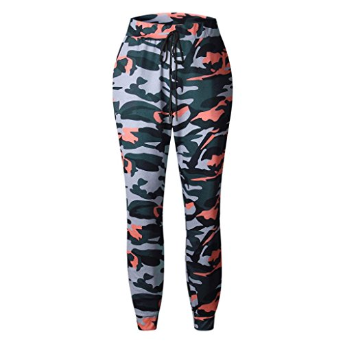 Memela Womens Camo Cargo Trousers Army Combat Camouflage Loose Baggy Fit Pants (Gray, (Camo Cargo Sweatpants)