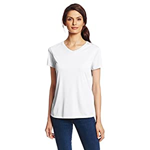 Hanes Sport Women's Cool DRI Performance V-Neck Tee,White,Medium