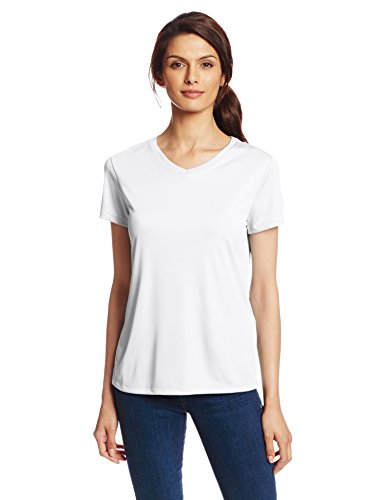 (Hanes Sport Women's Cool DRI Performance V-Neck Tee,White,Medium)
