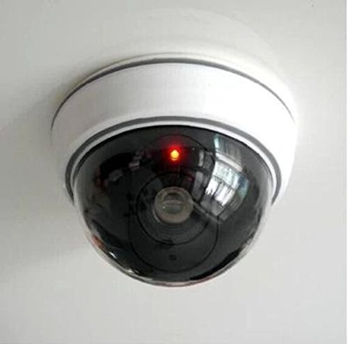 Omcon(TM) LingsFire? White Wireless Fake Dummy Dome CCTV Security Camera with Flashing Red