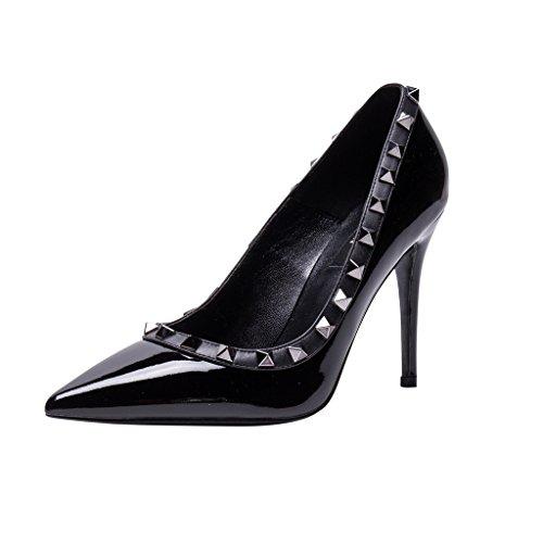 Genuine Toe Pointed Heel Leather Gun Studs High metal Black Pumps Studded Pan Kaitlyn Black Trim Patent Stiletto 05IXqB