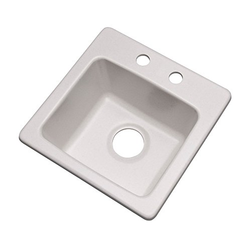 "Dekor Sinks 27200Q Duxbury Composite Granite Prep Sink with Two Holes, 16"", Soft White"