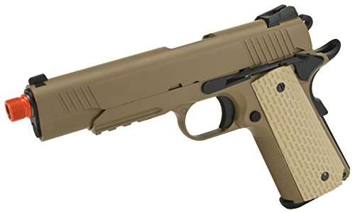 Evike - WE-USA NG3 Metal 1911 Desert Warrior Railed Frame Heavy Weight Airsoft Gas Blowback Pistol - (33152)