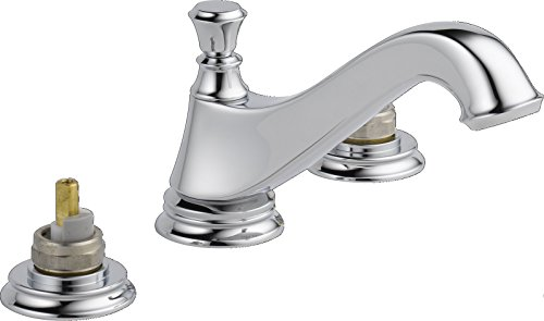 Delta 3595LF-MPU-LHP Cassidy Two Handle Low-Arc Widespread Bathroom Faucet with Metal Pop-Up Drain and without Handles, Chrome Arc Widespread Bath Faucet