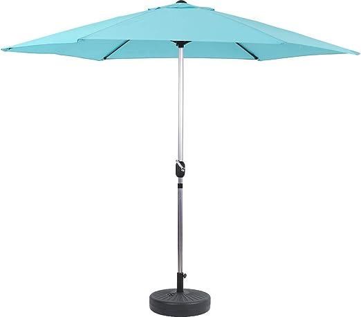 habitatetjardin Parasol de Jardín Aluminio Sol Azul - Ø3m con Base: Amazon.es: Jardín