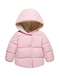 Kids Warm Cotton-Padded Jacket Coat Baby Star Printing Outwear Hood Down Jacket