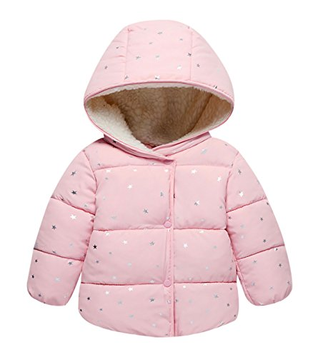 Baby Kids Warm Cotton-Padded Jacket Down Coat Cute Star Printing Both Sides With Pocket Design Hoodies Snowsuit Outwear Clothing Dress Coats Pink (Design Cotton Suit)