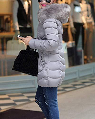 Fit Fit Colore Puro Casuale Cappotto Donna con con Cerniera Piumino Piumino Piumino Moda Coat Lunga Laterali Tasche Manica Invernali Giacca Battercake Donne Grau Cappuccio Slim Confortevole xTqS8O05w