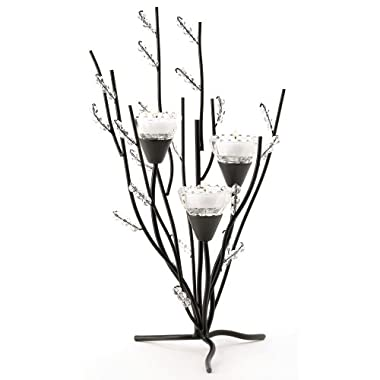 Gifts & Decor Crystal Tree Black Tealight Candle Holder