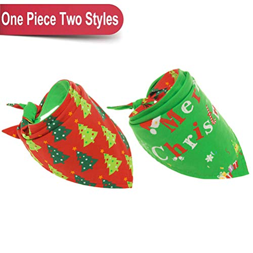 BINGPET Christmas Dog Bandana Reversible Pet Scarfs Cute Triangle Bibs Kerchief for Pet
