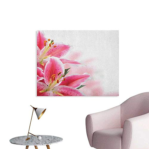 - Anzhutwelve Pink and White Photo Wall Paper Florist Theme with Lilies Close Up A Fresh Bouquet for The Loved Ones Cool Poster Pink Orange Green W48 xL32