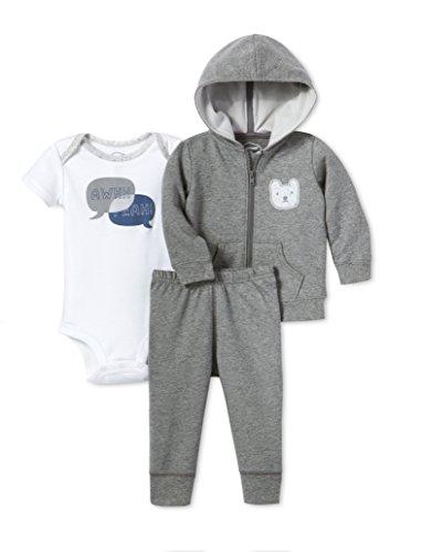 Lamaze Baby Organic 3 Piece Hoodie Set, Grey, 24M