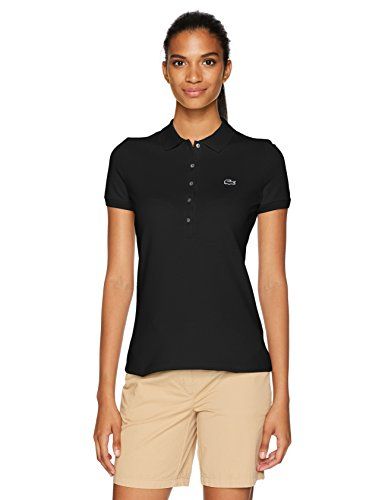 Lacoste Women's Classic Short Sleeve Slim Fit Stretch Pique Polo, PF7845, Black, (Lacoste Crocodile Logo)