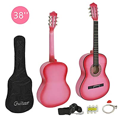 Smartxchoices 38 inch Basic Acoustic Guitar for Starter Beginner Music Lovers Kids with Guitar Bag, Strap, Extra Set of Strings and Pick …