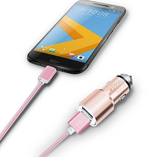 Price comparison product image I-Sonite (Rose Gold) Quick Charge Dual Port USB Full Aluminium Cased Car Charger Adaptor (3.1A/24W) With Break Glass Safety Hammer & 1 Meter Micro-USB Nylon Braded Data Cable For Zte Blade A2 Plus