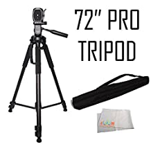 72-inch Tripod 3-way Panhead Tilt Motion with Built In Bubble Leveling For Canon Rebel EOS-M SL1 T1i T2i T3 T3i T4i T5 T5i T6i T6s XSI XS XTI EOS 60D EOS 70D 50D 40D 30D EOS EOS 6D EOS 7D EOS 5D Mark II 5D Mark III Digital SLR Cameras