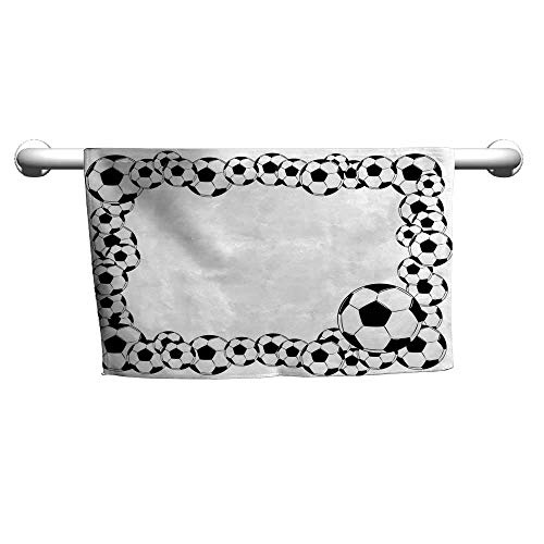 Bath Towel Soccer,Monochrome Football Frame Pattern Abstract Illustration Playing Sports Game,White Charcoal Grey,Beach Towel for Two