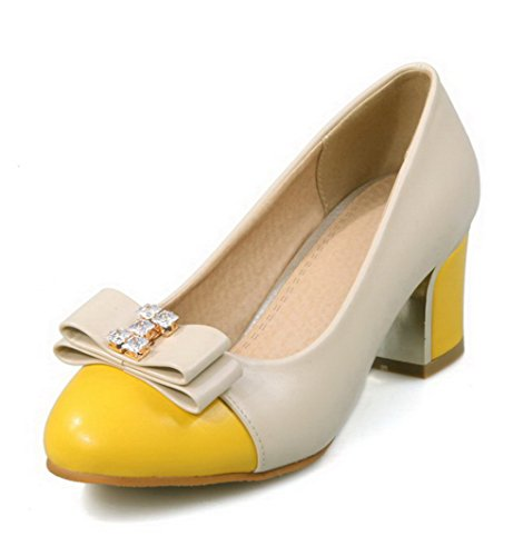 VogueZone009 Women's Soft Material Low-Heels Pull-On Round Closed Toe Pumps-Shoes Yellow PVpWGwc