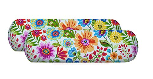 """RSH Décor Set of 2 Indoor Outdoor Decorative Jumbo Bolster Neckroll Throw Toss Pillows Available in Various Fabrics & 2 Sizes (24"""" x 8"""", Gregoire Fresco Blue red Yellow Pink Floral)"""