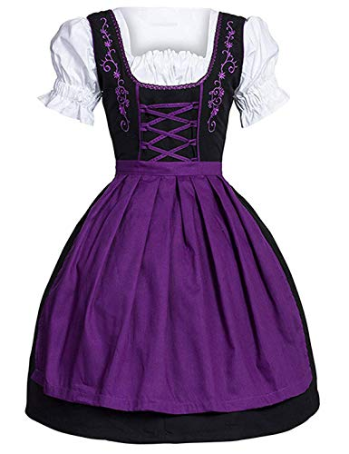 Flygo Women's Anime Cosplay French Maid Costume Apron Carnival Hallowween (Large, Purple) -
