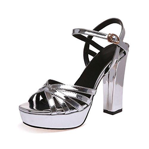 Avec Chaussures Sandales EU38 Femmes Bride Femme Talon Épais Taiwan Haut Fendue SHOESHAOGE 8dgzwPq8x