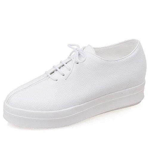 Amoonyfashion Dames Ronde Gesloten Teen Vetersluiting Pu Solide Kitten Hakken Pumps-schoenen Wit