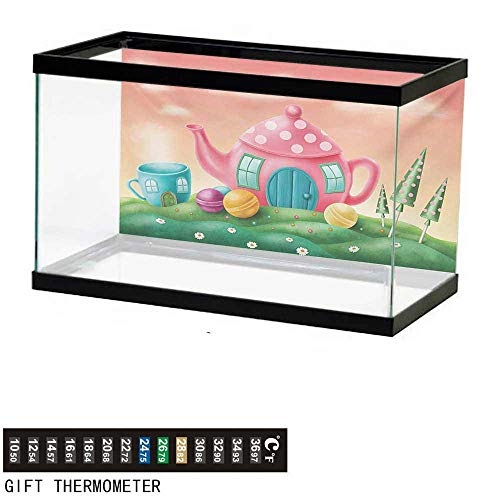 wwwhsl Aquarium Background,Fantasy,Fantasy Teapot and Cup Houses Wonderland Theme Meadow Teatime Happiness Artwork,Pink Green Fish Tank Backdrop 48