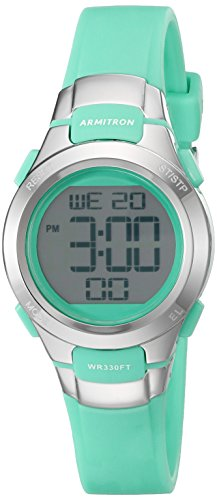 Armitron Sport Women's 45/7012TEL Digital Chronograph Teal Resin Strap Watch (Best Watches For Girls)