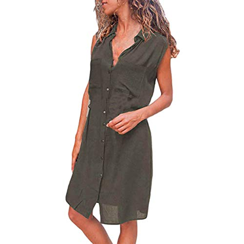 Transer- Clasic Sleeveless T-Shirt Dress Stand Collar Button Dwon Summer Casual Loose Fitted Dresses