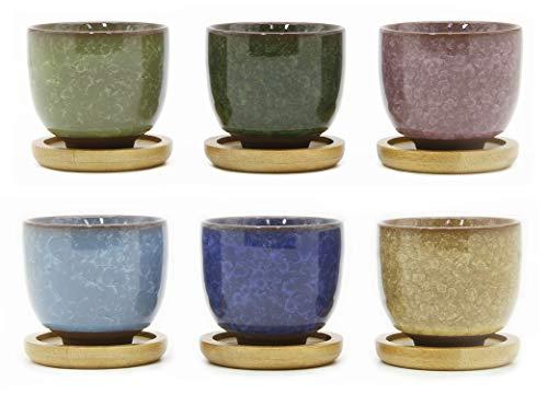 - Goldblue Ice Crack Zisha Serial Ceramic Flowing Glaze Succulent Plant Pot with Bamboo Drip Tray Cactus Plant Pot Flower Pot Container Planter