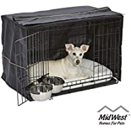 iCrate Dog Crate Starter Kit, 30-Inch Dog Crate Kit Ideal for MEDIUM DOG BREEDS Weighing 26 - 40 Pounds, Includes Dog Crate, Pet Bed, 2 Dog Bowls & Dog Crate Cover, 1-YEAR MIDWEST QUALITY GUARANTEE