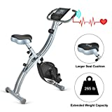 Wonder Maxi Folding Magnetic Exercise Bike, Upright Recumbent Pulse Sensor Indoor Cycling Bike with LCD Monitor Phone Holder for Cardio Workout and Strength Training