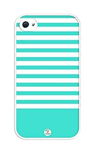 iZERCASE Turquoise Stripes rubber iphone 4 case - Fits iphone 4 & iphone 4s