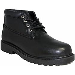 ZANCO MENS BLACK FULL GRAIN LEATHER CLASSIC CHUKKA BOOTS # 7522 WIDE WIDTH
