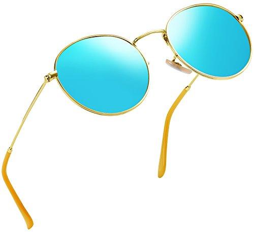 Joopin-Polarized Sunglasses Men Coating Lens Sun Glasses Women Vintage Round Sunglass Man (Blue)