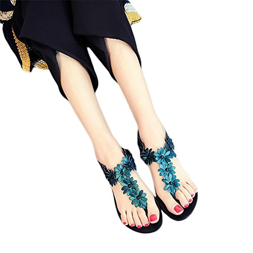 4c8e944af45f16 low-cost Women Flip Flops Flower Floral Printed Beach Shoes PU Leather  Non-slip