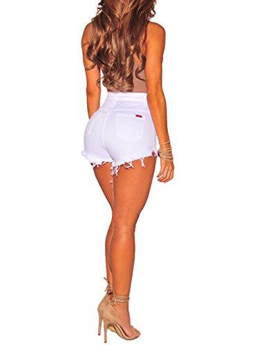 Kimikal Jeans Blanc Femme Denim Taille Short Haute Pants pftrnpSqx