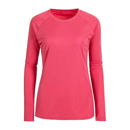 UPF 50+ Sun Protection Basic T Shirt for Women Round Neck Pink M