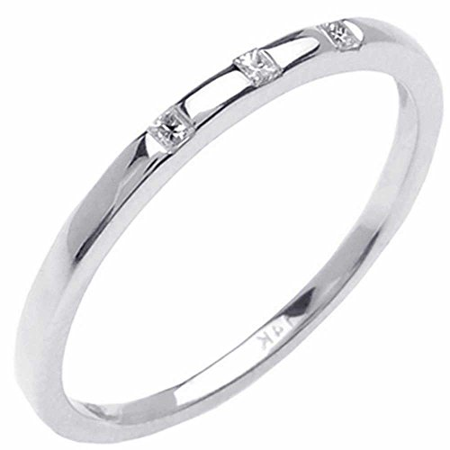 0.06ct TDW White Diamonds 18K White Gold 3 stone Women's Wedding Band (G-H, SI1-SI2) (1.5mm) Size-8c2 ()