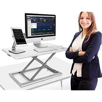 Image of Stands Adjustable Standing Desk Converter, AboveTEK Compact Solid Aluminum Computer Riser, 30' Desktop Platform w/Smooth Air Assist at Home Office (White)