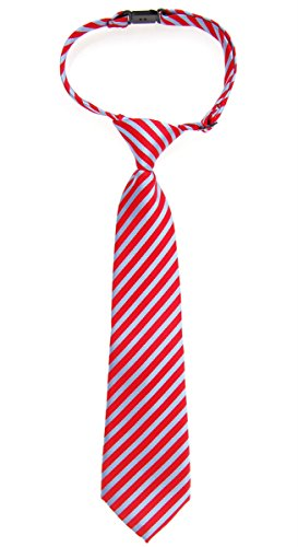 Retreez Matte Classic Striped Woven Microfiber Pre-tied Boy's Tie - Red and Blue - 24 months - 4 years
