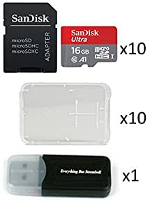 10 Pack - SanDisk Ultra 16GB Micro SD SDHC Memory Flash Card UHS-I Class 10 SDSQUAR-016G-GN6MN Wholesale Lot with 10 Plastic Jewel Cases and (1) ...