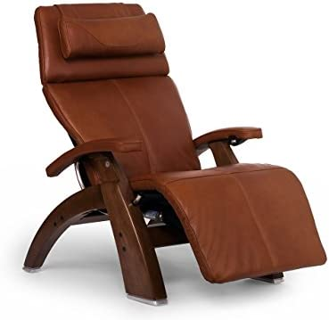 Perfect Chair Human Touch PC-610 Live Power Omni-Motion Walnut Zero-Gravity Recliner Premium Leather Fluid-Cell Cushion Memory Foam Jade Heat – Cognac Premium Leather Renewed