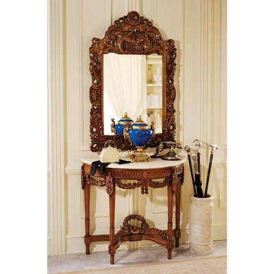 Design Toscano Chateau Gallet Marble Topped Hardwood Console Table and Mirror (Chateau Wood Mirror)
