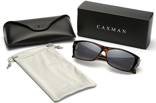 CAXMAN Polarized Fit Over Glasses Sunglasses for Prescription Glasses, Small Size, Tortoise Shell Frame with Grey Lens, 100% UV Protection by CAXMAN (Image #6)